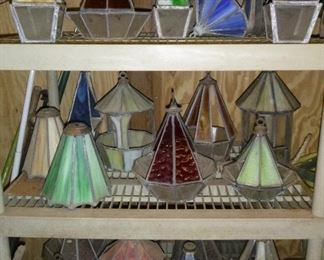 There's quite a lot of stained glass in this sale as he was a stained glass artist - these are only a small sample. There are also stained glass tools.