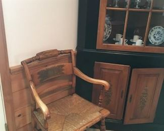 Hitchcock corner cupboard & Hitchcock arm chair