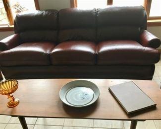 Hancock genuine leather sofa -excellent condition !