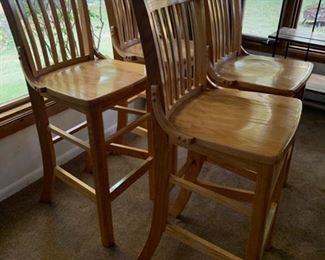 4 Oak Barstools-$225