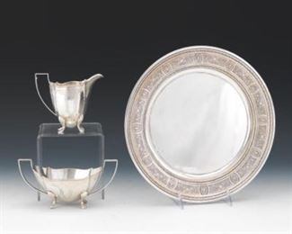 Birmingham Sterling Creamer and Sugar Bowl and International Sterling Round Tray
