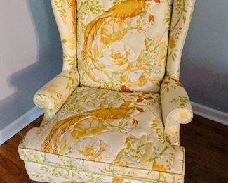 Upholstered High Back Chairs, Peacock Design, one of two