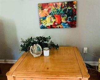 "Light wood, 36x36"" Coffee Table with storage drawer, Canvas still life wall art."