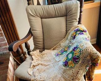 Wood Rocking Chair, Crochet Coverlet