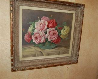 One of the many floral paintings