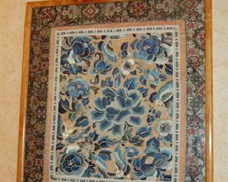 Several Oriental silk panels