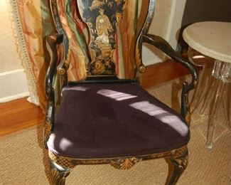 Chinoiserie open arm chair