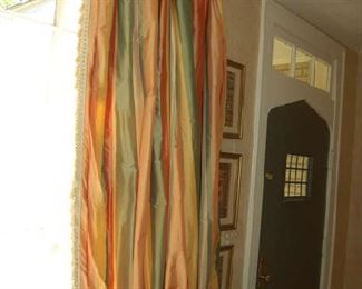 Large pair silk curtains with rods and rings