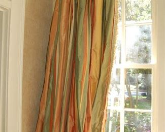Silk curtains with rings and rod