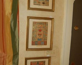 English hand colored framed paper