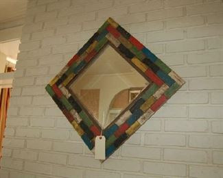 Custom made painted wood mirror