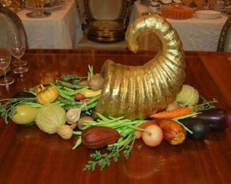 Cornucopia with faux  vegetables
