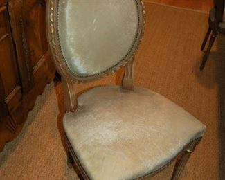 Set of six leather French dining chairs