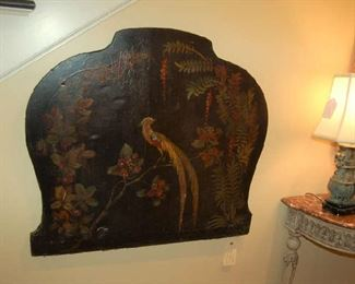 Leather painted fire screen made into wall hanging