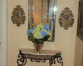 Iron and stone top console and Venetian mirror
