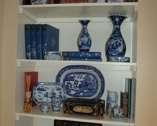 Collection of blue and white with Imari charger