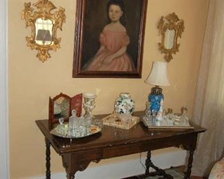 Antique writing table with American portrait