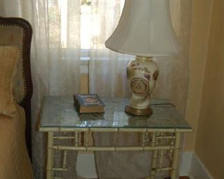 English bamboo table with needlework and glass top