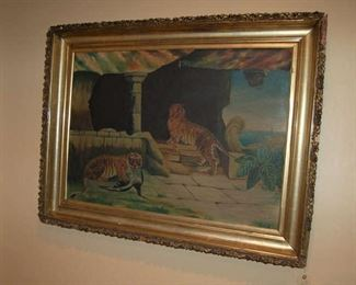 Oil on canvas of tigers