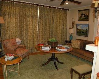 Baker table, upholstered sofa, papier mache tray table