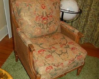 Classical caned side and back chair and globe