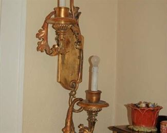 Pair of large Italian wooden wall lights
