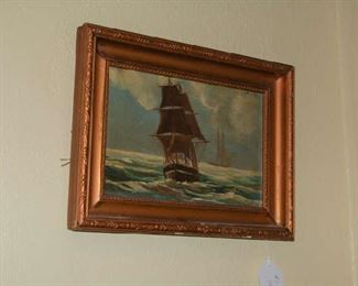 One of several oil paintings of ships