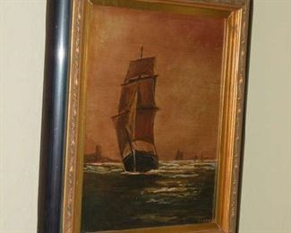 Oil on canvas painting of ship