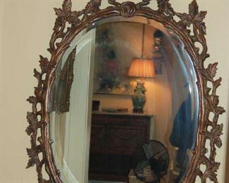 Metal beveled wall mirror