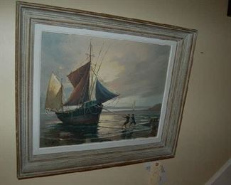 Oil on canvas ship by G. Luigi