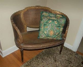 Late 19th Century French caned and gilt-wood settee