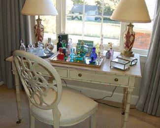 Murano glass on Mark Hampton writing table and chair