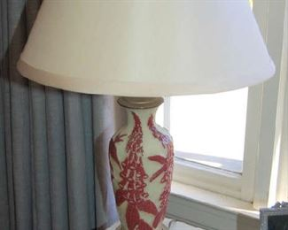 Pair of Emile Galle glass lamps