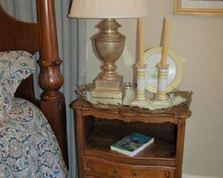 One of two country French tall bedside tables