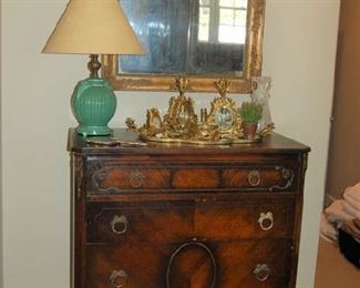 French-style chest with antique French mirror