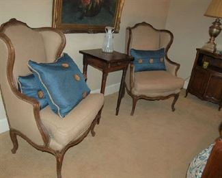Two Country French armchairs and early small on-drawer candle stand