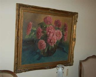 One numerous floral oil on canvas
