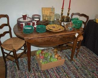 Country French table and rush chairs