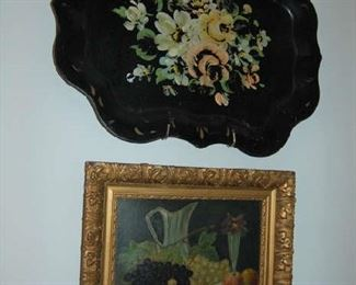 Hand painted tray and still life