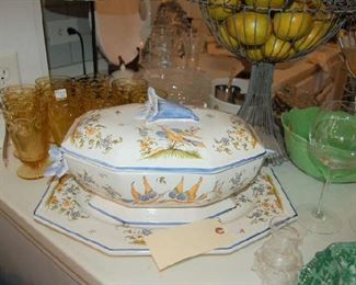 French Faience tureen and underplate