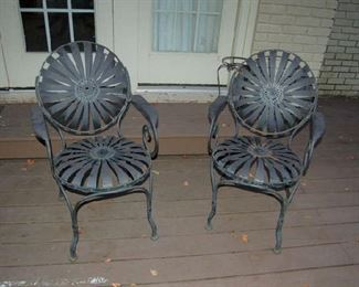 Set of metal chairs