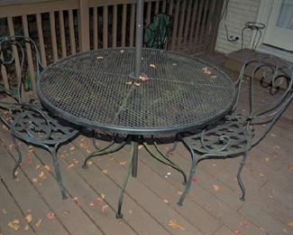 Table and chairs for deck