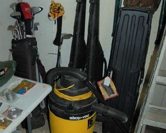 Shop vac and golf clubs