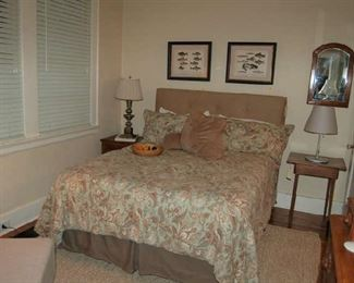 Full size bed with linen headboard