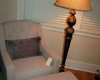 Linen chair with ottoman