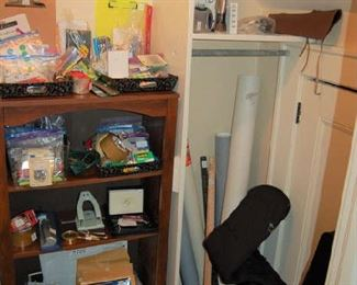 Closet full of home office supplies