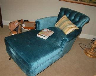 Blue velvet chaise lounge