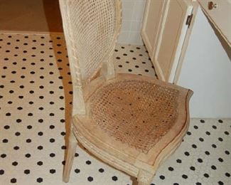 Caned chair for dressing table