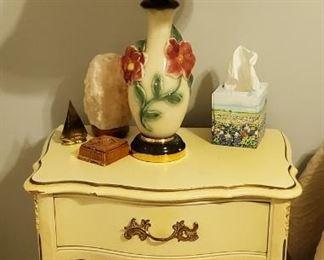 Nightstand, Antique Lamp, Salt Lamp