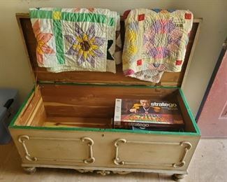 Cedar Trunk and antique quilts